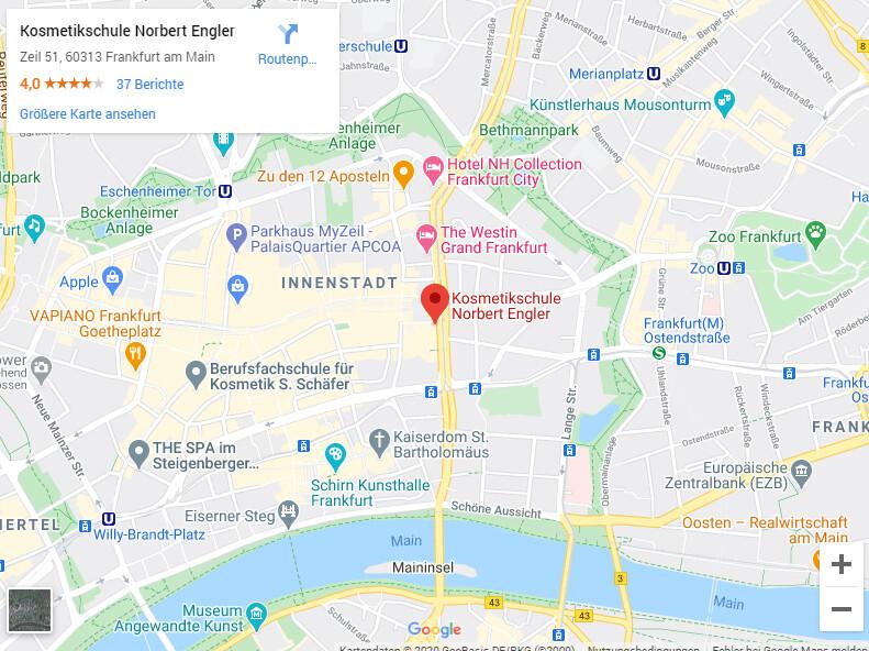 Anfahrt/Umgebungsplan Kosmetikschule Engler Frankfurt